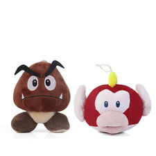 2PCS Super Mario Bros Pukupuku Cheep and Goomba Plush Doll Stuffed Soft Toy