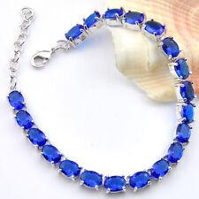 Ocean Blue Topaz Gemstone Silver Charming Chain Bracelets For Woman