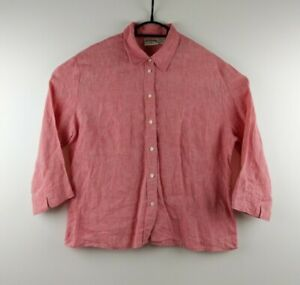 Vintage Country road Women's Pink 100% Linen 3/4 Sleeve Top - Size XL