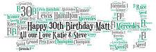 Personalizado F1 Racing Car palabra Art Print Regalo De Cumpleaños O Cualquier Ocasión