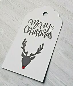 12 x Merry Christmas Reindeer Tags for gifts