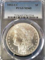 1882-CC Morgan Dollar MS 65, PCGS S$1 Rare in MS65 Key Date Rare Date in MS65