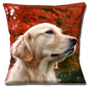 "NEW ADULT GOLDEN RETRIEVER DOG CLOSE UP HEAD AUTUMN 16"" Pillow Cushion Cover"