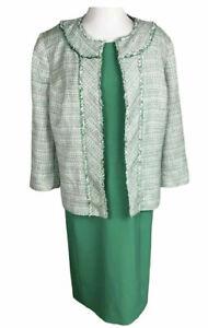 KASPER Women 2 PC Elegant Green Tweed Dress Suit Size 20 W