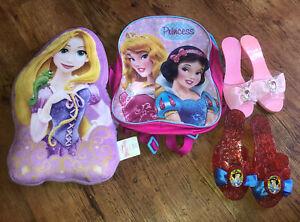 Disney Princess Accessories, Rapunzel Cushion, Aurora/Snow White Rucksack, Shoes