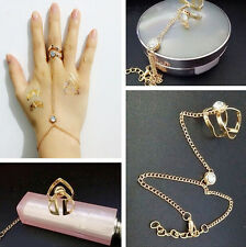 Fashion Women Rhinestone Golden Bracelet Bangle With Attached Ring Slave Chain