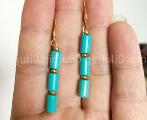 Natural 6x9mm Blue Turquoise Barrel Gems Beads Dangle Gold Hook Earrings