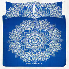 Royal Blue Lotus Floral Bedding Set Queen Size Tapestry Bedding Set Pillow Case