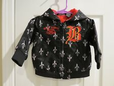 BLAC LABEL BOYS HOODED BLACK JACKET Embroidered label, Size: 6-9M