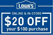 SIX (6x) Lowes $20 off $100 Discount Online/In-Store Exp: 7/31