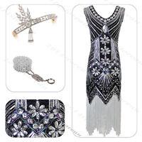 1920s Flapper Dress Great Gatsby 20s Fancy Downton Costume Headband Bracelet