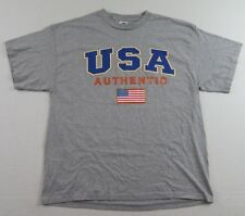 4bac5f62d USA AUTHENTIC American Flag Logo Country Pride Gray SS T Shirt Size XL