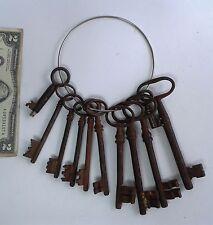"Rare Lot of 11 vintage skeleton keys cast iron massive 5 1/2"" jail? church?"