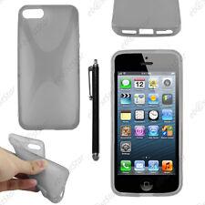 Housse Etui Coque Silicone Motif X Gris Apple iPhone SE 5S 5 + Stylet