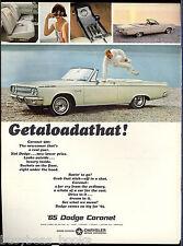 1965 DODGE CORONET advertisement, white Coronet convertible