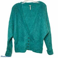 Free People Mermaid Green Fuzzy Furry Mohair Cardigan Sweater XS 40s style