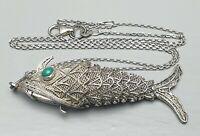 Großer Gliederfisch Wackelfisch 925 Silber punziert Türkis-Augen & Silberkette
