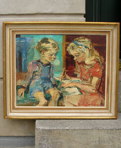 Ludvig Jacobsen (1890) Interior with children. Superb post impressionist oil.