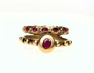 Antique Style Golden Bronze Ring-Ruby Stone-Size 9