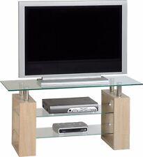 Seconique Milan TV Unit Glass Sonoma Oak Effect Veneer/clear/silver