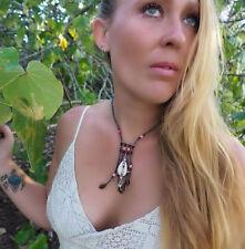 Necklace Choker Cowrie Shell Navy Pink Beads Surf Kuchi Gypsy Festival Aztec