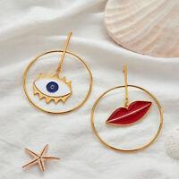 Unique Asymmetric Lips Evil Eye Drop Earrings For Women Party Earrings For Lady