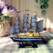 New Mediterranean Style Wooden Sailing Ship Handmade Carved Model Boat CA-052