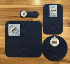 """Set of 4 """"Cobalt"""" LE CREUSET Silicone Skillet Handle Sleeve Trivet Hot Pad Mat"""