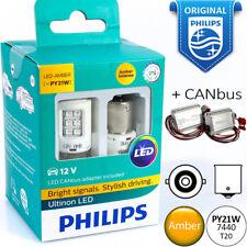 PY21W 1156 LED PHILIPS Ultinon Amber Turn Signal Yellow Light Bulbs + CANbus 12V