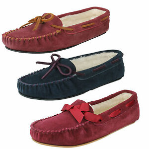 LADIES K BY CLARKS SUEDE LEATHER SOFT FUR LINED INDOOR WINTER SLIPPERS WAKE ME