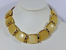 """VINTAGE LISNER SIGNED PALE YELLOW MOONGLOW THERMOSET CHUNKY 16"""" NECKLACE EVC"""