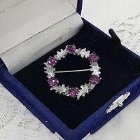 VINTAGE Mizpah Wreath Brooch Celtic Style Circle Silver Tone Purple Glass Scot