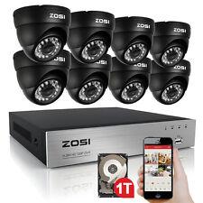 ZOSI 8CH 720P HDMI DVR HD 1280TVL Caméra Surveillance Extérieure Système 1To Kit