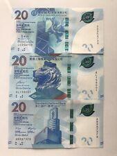 Hong Kong 20 Dollars 2018 UNC 3 Banknote Set Of HSBC BOC SCB