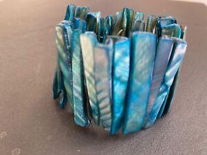 Pretty aqua blue shell stretch cuff bracelet SCBR007