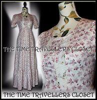 Chelsea Girl True Vintage 60s Ivory Wine Floral Maxi Dress Prairie Festival UK 8