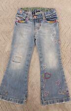 Designer Girls Embroidered Light Blue Denim Jeans (4 Years) - By Gap