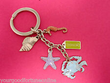 NWT Coach Beach Summer Multi Mix Shell Sea Horse Crab Star Fish Key Ring Chain