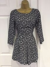 872d4ceb36 Missguided Playsuit Romper Size 10 Long Sleeves Black And White Pattern  Party