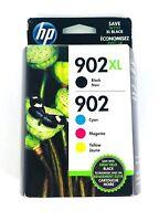 Genuine HP 902XL Black & 902 Color C/M/Y Ink NEW SEALED Box 10/2020 - Ships Fast
