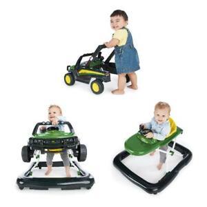 Green 3-in-1 John Deere Gator Baby Walker, Sound Light Adjustable Height Folding