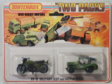 DTE 1975 CARD LESNEY MATCHBOX TWIN PACK TP-11 MILITARY JEEP & MOTORCYCLE NIOP