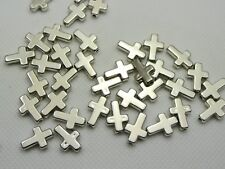200 Silver Tone Metallic Acrylic Smooth Cross Beads 13X9mm Spacer