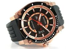 Bulova Men's 98B152 Precisionist Champlain Rose Gold Rubber Band Date Watch