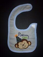 NEW Carter's Baby Boys 1st Birthday Monkey Water Resistant Teething Drool Bib