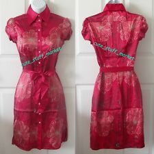 bebe CAP SLV RHINESTONE AMANDA SILK SHIRT DRESS w/ BELT RIO RED XS EXTRA SMALL