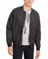 Alfani Mens Jacket Black Size 2XL Front Zip Twill Flight/Bomber $139 #145