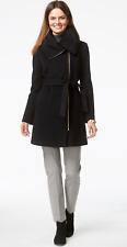 COLE HAAN NWT Sz12 WOMEN'S ASYMMETRIC ZIP WOOL BLEND BELTED COAT BLACK