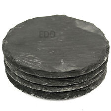 Set of 4 Round Natural Slate Coasters Cup Mug Coffee Table Mats Drink Holder New