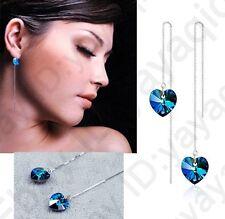 Ocean Heart CZ Crystal LongThread Earrings Ear Accessory For Wedding Engagement
